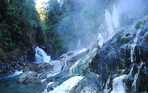 mist, landscape, rock, shrubs, Chile, glaciers