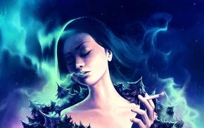 artwork, smoking, girl