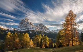 snowy peak, sky, fall, sunset, landscape, Italy