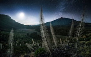 moonlight, Milky Way, Tenerife, starry night, Spain, landscape