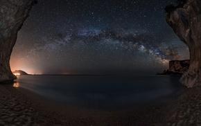 starry night, beach, sea, lights, landscape, cave