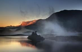 island, sunrise, mountain, calm, landscape, nature