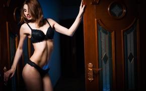 door, girl, black lingerie, looking down
