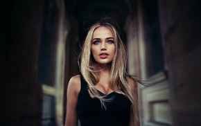 bare shoulders, girl, blonde, long hair, hallway, blue eyes