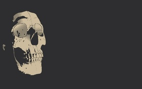 simple background, teeth, monochrome, digital art, gray background, skull