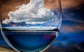 depth of field, water drops, sky, photo manipulation, water, artwork