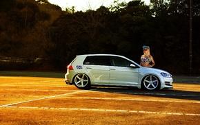 golf, Volkswagen Golf, Volkswagen, VW Golf 7 GTI, blonde