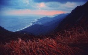 nature, clouds, sunset, landscape, village, mountain
