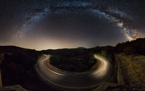 galaxy, road, walls, nature, trees, hill