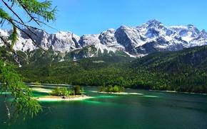 water, lake, emerald, trees, Germany, snowy peak