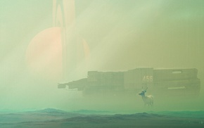 Desktopography, planet, spaceship, deer, fantasy art