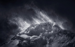 monochrome, clouds, wind, mountain, nature, birds