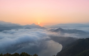 landscape, forest, mist, lake, South Korea, sunrise