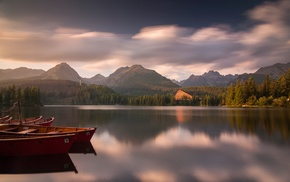 boat, mountain, lake, calm, clouds, landscape