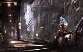 anime girls, steampunk, anime