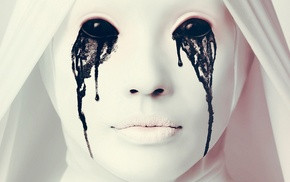 Ebola, horror, black eyes, nuns, makeup, artwork