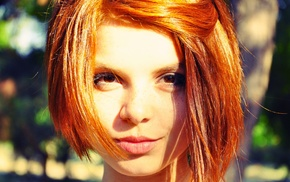 redhead, portrait, freckles, short hair, face, brown eyes