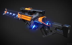 CGI, futuristic, gun, 3D
