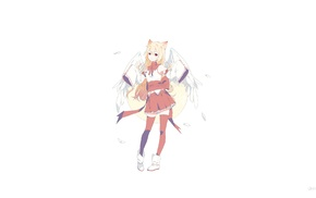 wings, nekomimi, red dress, red eyes, original characters