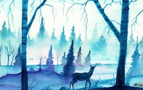 mist, deer, watercolor, forest, blue