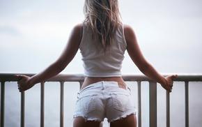 back, T, shirt, jean shorts, ass, blonde