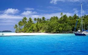 sea, nature, boat, palm trees, tropical island