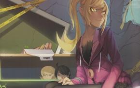 Araragi Koyomi, anime, Oshino Shinobu, long hair, anime girls, blonde