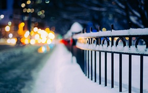 fence, urban, bokeh, snow, street