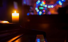 night, macro, piano, candles, colorful