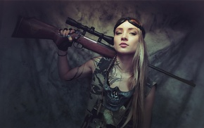 girl, army gear, rifles, blonde