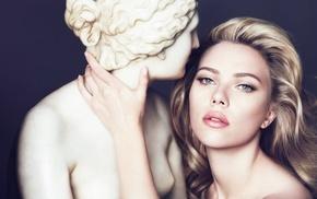sculpture, girl, celebrity, face, model, Scarlett Johansson