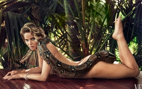 girl, animals, python, celebrity, strategic covering, palm trees