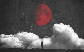 minimalism, fantasy art, silhouette, Red moon, moon, clouds