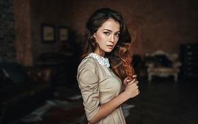 dress, girl, brunette, long hair, Georgiy Chernyadyev