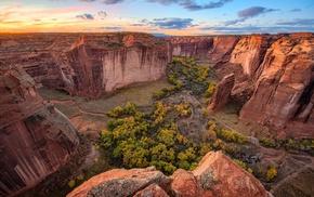 nature, canyon, landscape, sunset