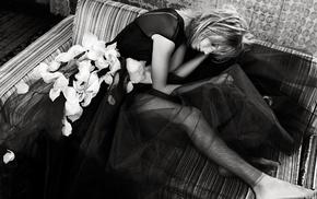 monochrome, girl, Taylor Swift, dress