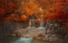 trees, bridge, red, landscape, leaves, nature