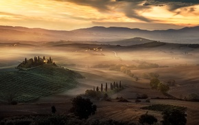 sunrise, hill, sky, mist, Tuscany, nature