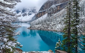 Canada, mountain, water, turquoise, snow, nature