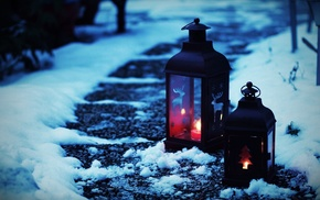 candles, snow, Christmas ornaments