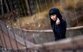 bangs, brunette, chains, hoods, Asian, depth of field