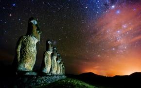 stars, culture, Easter Island, sculpture