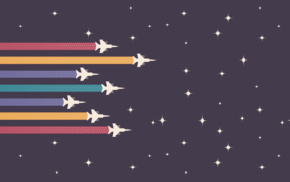 minimalism, colorful, aircraft, space