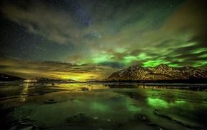 mountain, aurorae, frost, fjord, landscape, sky
