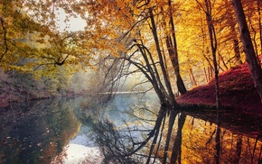 fall, landscape, water, trees, Turkey, colorful