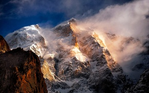 summit, nature, landscape, clouds, mountain, sunrise