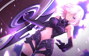 purple eyes, Shielder FateGrand Order, short hair, anime girls, FateGrand Order