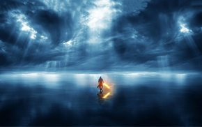 Star Wars, lightsaber, sea, storm, crepuscular rays