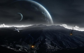 fire, mountain, moon, Star Wars, Z, 95 Headhunter