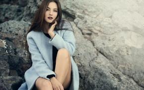 girl outdoors, coats, open mouth, sitting, long hair, brunette
